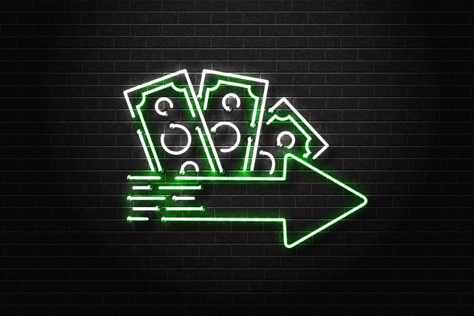 Neon sign of cash loan logo with arrow sign represents the concept of getting urgent cash loan in Singapore